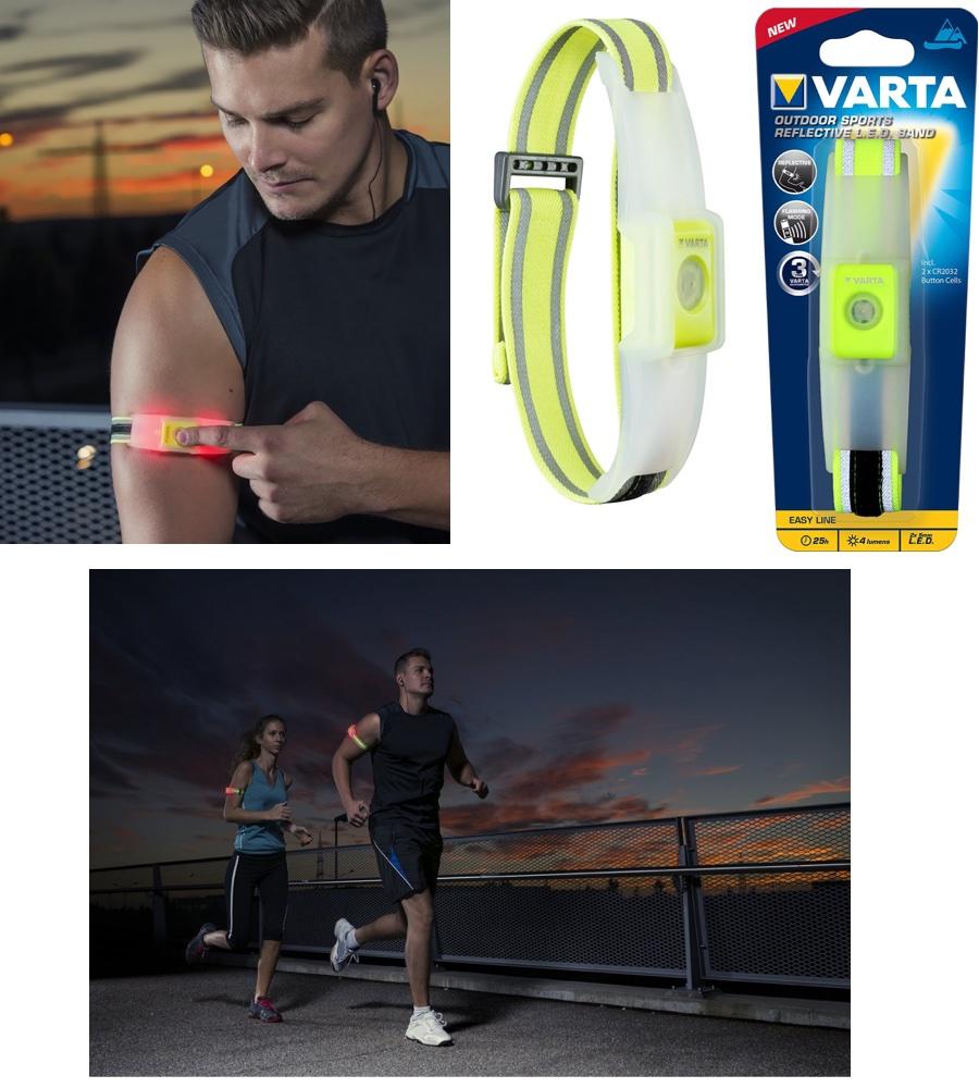 outdoor sports reflective led band von varta reflektorband inkl batterien ebay. Black Bedroom Furniture Sets. Home Design Ideas