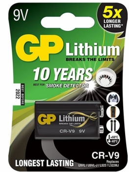 GP Lithium Batterie 9V-Block (6LR61) »GP 9V Batterie ideal für Rauchmelde«