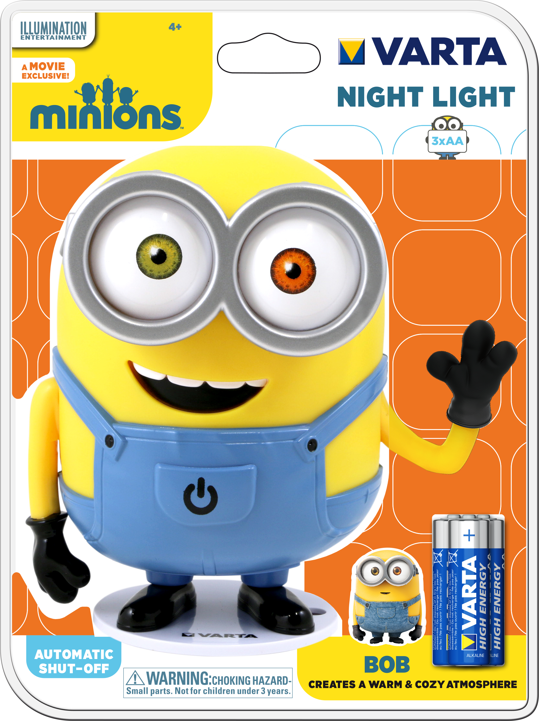 varta nachtlicht minion f r kinder led inkl 3x aa bob. Black Bedroom Furniture Sets. Home Design Ideas